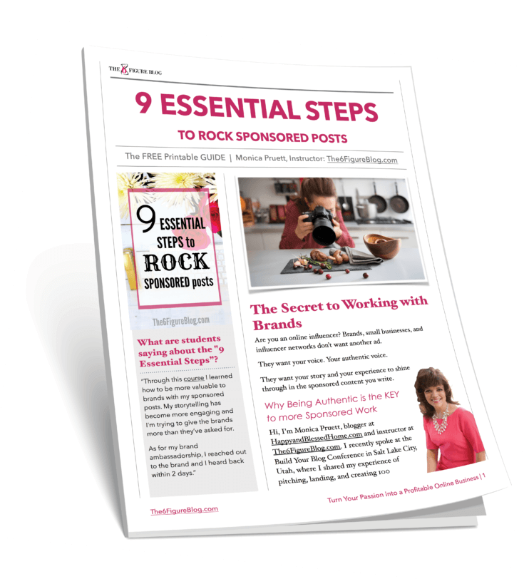 FREE Guide to The 9 Essential Steps to ROCK Sponsored Posts
